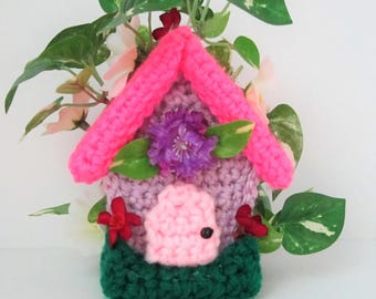 Fairy House, Hand Crochet Cute Handmade Fairy House for Decorating this Spring Summer Fun Little Fairy House by craftylittlekitten