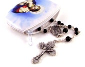 Virgin Mary Rosary Case Zippered Pouch Choice of Styles Our Lady of Grace or Madonna and Child