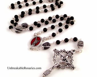 St Michael Rosary Beads Black Onyx w Black Line Jasper and  Nail Crucifix by Unbreakable Rosaries