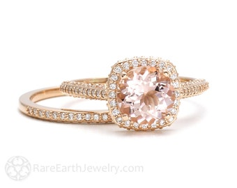 Morganite Bridal Set 18K Rose Gold Diamond Halo Morganite Engagement Ring Wedding Set