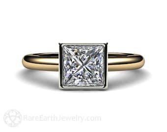 Moissanite Engagement Ring Princess Bezel Solitaire Moissanite Ring Conflict Free Forever Brilliant 14K or 18K Gold