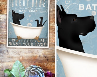 Great Dane dog bath soap Company vintage style artwork by Stephen Fowler UNFRAMED Giclee Signed Print