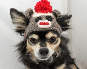 Dog Hat Sock Monkey, hand crocheted brown Small or Xsmall