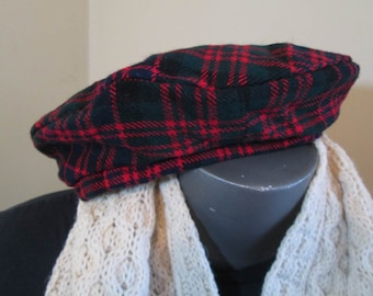 Scotland Tartan Beret Red plaid Beret cute red plaid hat Like you find in a second hand store a red vintage beret