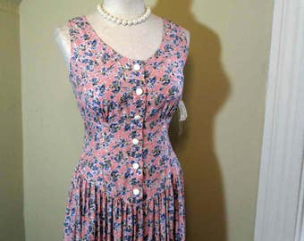 Pink 90s Floral dress Blue Carnations floral Pink Sundress Vintage Long Maxi print dress Carol Anderson nwt 90s vintage Pink print dress S