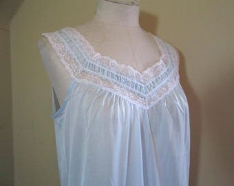 Vintage Baby Blue Nightgown 70s blue Vintage nightgown NWT 70s Lace Nylon nightgown Blue vintage Sears nighty S M