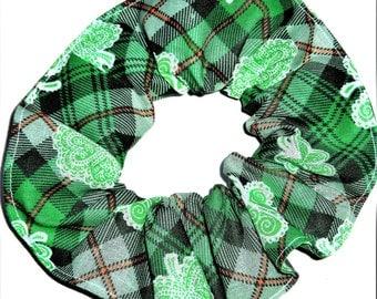 St Patricks Day Fabric Hair Scrunchies by Sherry Green Plaid