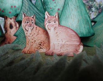 Wooden Bobcat Waldorf Heirloom Wood Animal Toy - very shy fellow