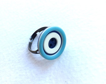 Blue Vintage Button Adjustable Ring - Shabby Chic