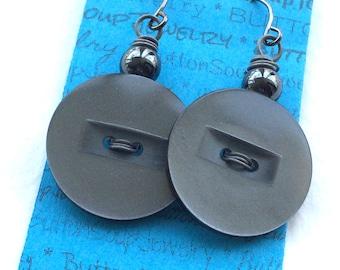 Funky Gray Retro Vintage Button Jewelry Dangle Earrings