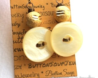 White Vintage Button Earrings with Gold Beads