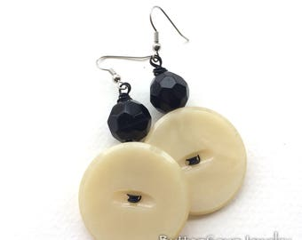 OffWhite Vintage Button Earrings with Black Beads