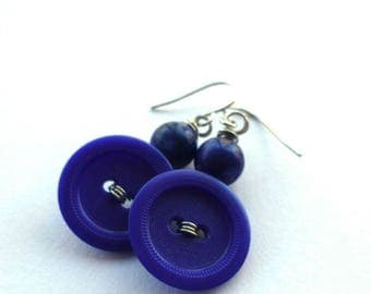 Mothers Day Sale Navy Blue Earrings - Repurposed Vintage Button Jewelry