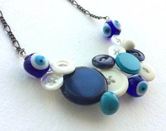 Summer Sale Evil Eye Vintage Button Statement Necklace in Blue and White