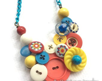 Primary Colors Circus Vintage Buttons Statement Necklace
