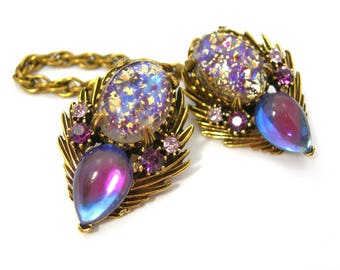 Florenza Sweater Guard Clips on Chain, Purple Art Glass & Rhinestones in Antiqued Goldtone Setting, Vintage 1960s Statement Jewelry