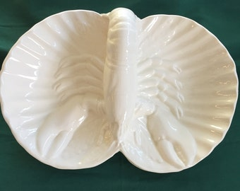 Hand Made White Ceramic Divided Serving Piece with Lobster Design