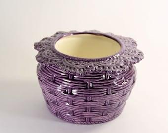 African Violet Pot Basket Weave Large Purple