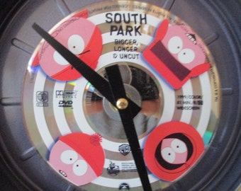 South Park Clock - Repurposed DVD / Movie Reel Canister - Free Shipping
