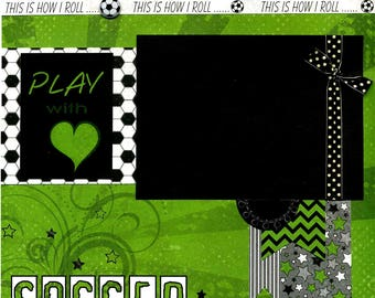 12x12 Premade Soccer Scrapbook Page - Play With Heart