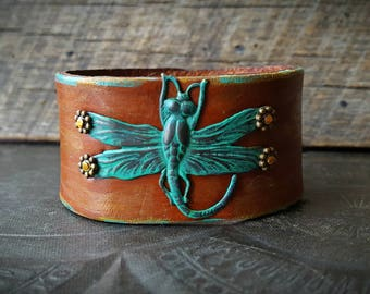 Vintage Brass Dragonfly, Leather Cuff Bangle Bracelet, Artisan Made, Womans Cuff, Dragonfly, Summer Jewelry, Bangle