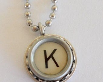 SALE Initial Jewelry - Typewriter Key Necklace - Vintage -  All Letters Available - Typography Jewelry