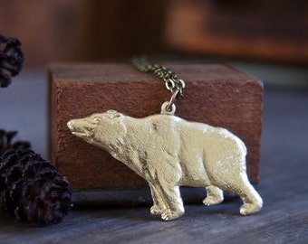 Grizzly bear necklace // detailed pressed brass // gifts for him //California // N155