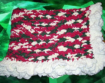 Crochet Lap Throw/Baby Blanket, Holiday Cheer