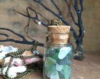 OCEAN GIFTS...long necklace, bottle filled with genuine sea glass,wedding bridesmaids gifts aqua teal white rustic nautical