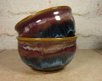 Northern Lights Soup Bowls - Set of Two - Handmade Bowls