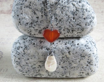 Red Agate Necklace, Teardrop Pearl Long Pendant, Oxidized Sterling Silver, Heart Gemstone, Gift For Her, Rustic Jewelry