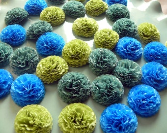 Button Mums 1 inch Tissue Paper Flowers Wedding, Bridal Shower, Baby Shower Decor Blue, Green, Teal