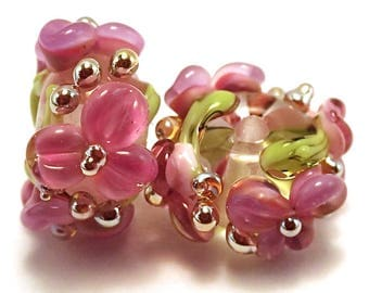 Pink and Lilac Crystal Gilded Floral Spacers