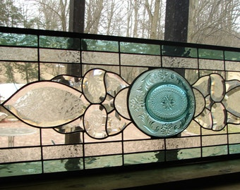 Large Beveled Transom sidelight stained glass panel green