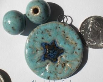 Stoneware Snowflake Pendant and Bead Set