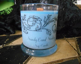 Spring Rain~Wood Wick Soy Candle- 12 Ounce- Status Jar-Soy candles-Relaxing Scents-Spring-Light Blue