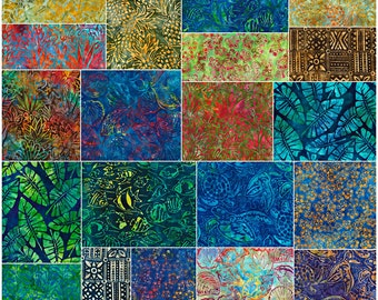 "SQ24 Robert Kaufman TOTALLY TROPICAL Batiks Precut 5"" Charm Pack Fabric Quilting Cotton Squares CHS-550-42"