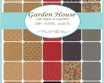 "SQ29 Moda GARDEN HOUSE Precut 5"" Charm Pack Fabric Quilting Cotton Squares 2170PP"