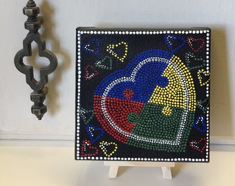 Mini Dot Art Painting - 5 X 5 Canvas With Mini Easel Display - Folk Art - Autism Awareness - Heart Puzzle - FREE USA SHIPPING