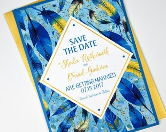 Blue / Teal Boho Feather, Watercolor and Gold Beach Destination Wedding Save the Date