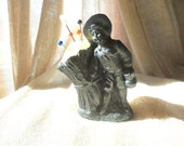 Vintage Pewter Metal Colonial Boy Standing next to Sheaf of Wheat Pin Cushion
