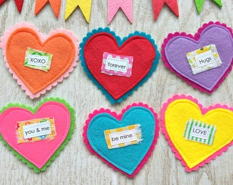 Colorful Valentine Conversation Hearts -- Handmade With Fabrics, Set of 6