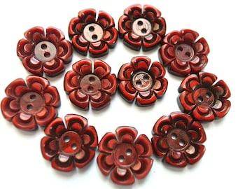 11 Buttons flowers, vintage antique flowers plastic 15mm, unique color , RARE