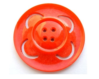 Vintage button, red plastic large flower button 44mm, RARE, great for button jewelry
