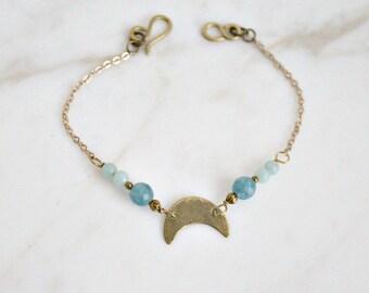 Celestial crescent moon bracelet, brass & light blue gemstones, boho chic moon bracelet