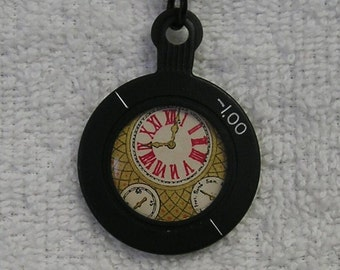 Black framed Trial Optical Lens with watch insert Necklace