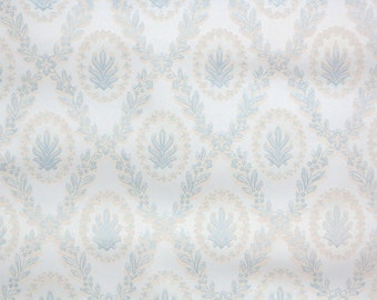 1950's Vintage Wallpaper - Blue White and Cream Damask