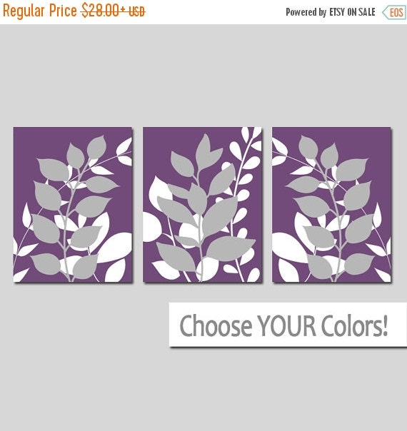 purple gray wall art bedroom pictures leaves canvas by. Black Bedroom Furniture Sets. Home Design Ideas