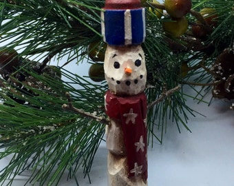 Patriotic Wood Carved Primitive Snowman Rolling Pin Christmas Ornament, Americana Christmas