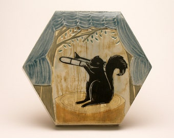 Storytime Squirrel Band- Trombone- Hexagonal Box Tile- Ruchika Madan
